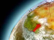 Il Benin dall'orbita di Earth di modello Immagine Stock Libera da Diritti