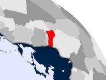 Il Benin nel rosso sulla mappa Illustrazione Vettoriale