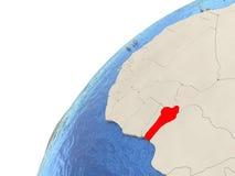 Il Benin sul globo Fotografie Stock Libere da Diritti