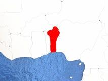 Il Benin sul globo Fotografia Stock