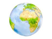 Il Benin sul globo isolato Immagini Stock