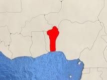 Il Benin sulla mappa Fotografia Stock Libera da Diritti