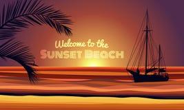 Il benvenuto al testo della spiaggia del tramonto con la foglia della noce di cocco e della barca sul vettore del fondo dell'estr illustrazione vettoriale