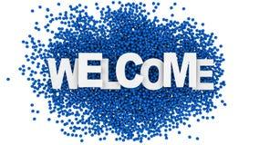 Il benvenuto cede firmando un documento il fondo variopinto illustrazione 3D Immagine Stock