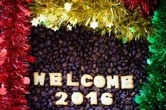 Il benvenuto 2016 dell'alfabeto ha fatto dai biscotti del pane Immagine Stock Libera da Diritti