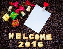 Il benvenuto 2016 dell'alfabeto ha fatto dai biscotti del pane Immagini Stock Libere da Diritti