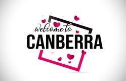 Il benvenuto di Canberra per esprimere il testo con la fonte scritta a mano ed i cuori rossi quadrano illustrazione vettoriale