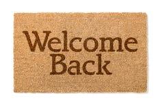 Il benvenuto indietro alloggia Mat On White Fotografia Stock