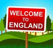 Il benvenuto in Inghilterra significa il Regno Unito e l'arrivo Immagini Stock