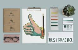 Il best practice sfoglia sul concetto di approvazione Illustrazione di Stock