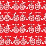 Il bianco bikes il modello senza cuciture Fotografia Stock Libera da Diritti