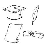 Il bianco del nero della piuma del diploma del cappello di istruzione ha isolato l'illustrazione dell'oggetto Immagine Stock