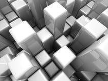 Il bianco futuristico astratto cuba il fondo Fotografie Stock Libere da Diritti
