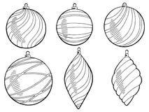 Il bianco grafico del nero del nuovo anno delle palle di Natale ha isolato il vettore stabilito dell'illustrazione Fotografia Stock Libera da Diritti
