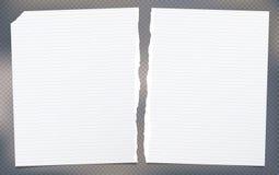 Il bianco lacerato ha allineato la nota, strati di carta del taccuino per testo attaccato su fondo grigio illustrazione di stock