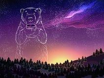 Il bianco polare riguarda in pieno del cielo della galassia delle stelle Paesaggio di inverno di fantasia alla notte Tema del nuo illustrazione di stock