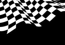 Il bianco a quadretti del nero dell'onda della bandiera per il campionato della corsa di sport e l'affare finiscono il vettore de Fotografie Stock Libere da Diritti