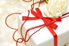 Il bianco tenero è aumentato con il contenitore di regalo Fotografia Stock
