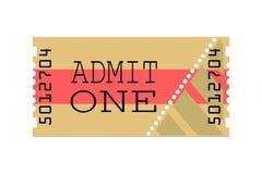 Il biglietto, ammette uno, illustrazione Immagine Stock Libera da Diritti