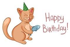 Il biglietto di auguri per il compleanno felice con il gatto sveglio del fumetto in cappello dà un pesce Vettore Immagine Stock Libera da Diritti