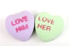 Il biglietto di S. Valentino lo ama la ama Immagine Stock Libera da Diritti