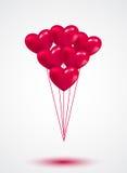 Il biglietto di S. Valentino rosa del cuore balloons il fondo Fotografie Stock Libere da Diritti