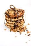 Il biscotto del cioccolato zuccherato con le noci lega in su Immagini Stock