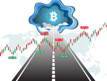Il bitcoin di Cryptocurrency sulla strada a successo ed al grafico finanziario del candeliere traccia una carta dello scalare Fotografie Stock Libere da Diritti