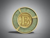 Il bitcoin dorato 3d rende su greybackground Fotografia Stock Libera da Diritti