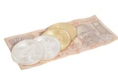 Il bitcoin dorato e d'argento conia sull'indiano dieci rupie Fotografia Stock Libera da Diritti