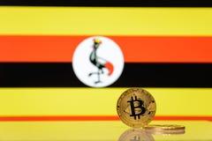 Il bitcoin dorato sta su un fondo della bandiera dello stato dell'Uganda fotografia stock libera da diritti