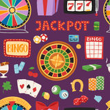 Il black jack di gioco di simboli del gioco del casinò carda il modello senza cuciture di conquista di vettore del burlone delle  Fotografia Stock