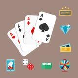 Il black jack di simboli del giocatore del poker del gioco del casinò carda l'illustrazione di conquista di vettore del burlone d Immagine Stock