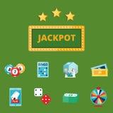 Il black jack di simboli del giocatore del poker del gioco del casinò carda l'illustrazione di conquista di vettore del burlone d Immagine Stock Libera da Diritti