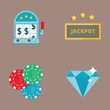 Il black jack di simboli del giocatore del poker del gioco del casinò carda l'illustrazione di conquista di vettore del burlone d Fotografie Stock Libere da Diritti