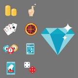 Il black jack di simboli del giocatore del poker del gioco del casinò carda l'illustrazione di conquista di vettore del burlone d Fotografia Stock