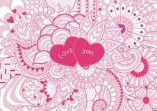 Il blackground floreale di mignolo con due cuori dice l'amore voi per fondo Illustrazione di vettore Immagini Stock