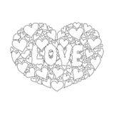 Il blackground floreale di mignolo con due cuori dice l'amore voi per fondo Illustrazione di vettore Fotografia Stock