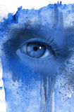 œil bleu d'oeil de femme beau jeune? illustration d'aquarelle dans le bleu illustration stock