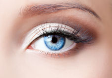 œil bleu de femme Photos libres de droits