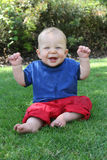 œil bleu de sourire Photos libres de droits