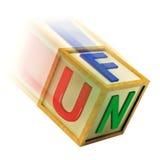 Il blocchetto di legno di divertimento mostra il gioco e la ricreazione di godimento illustrazione di stock