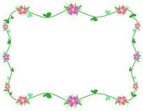 Il blocco per grafici dell'ibisco fiorisce, viti e fogli del cuore Fotografia Stock