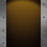 Il blocco per grafici di alluminio si è serrato ad una fibra dorata del carbonio Fotografia Stock Libera da Diritti