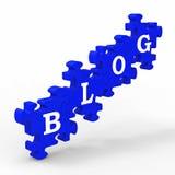 Il blog segna il blogging con lettere di Internet di mezzi Fotografia Stock