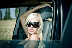 Il blonde sessuale in biancheria intima Immagine Stock