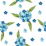 Il blu astratto fiorisce il modello senza cuciture Fotografie Stock Libere da Diritti