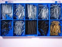 Il blu dei compartimenti di prova dei chiodi foggia la scatola della borsa degli arnesi del metallo della costruzione Fotografia Stock Libera da Diritti