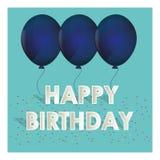 Il blu di buon compleanno balloons i coriandoli minuscoli Fotografia Stock