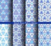Il blu disegnato a mano del tessuto modella la raccolta Immagine Stock
